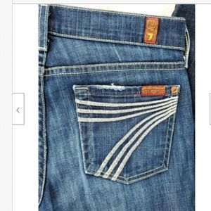 7 For All Mankind Jeans - 7 for all Mankind Dojo Dark Wash White Stitching